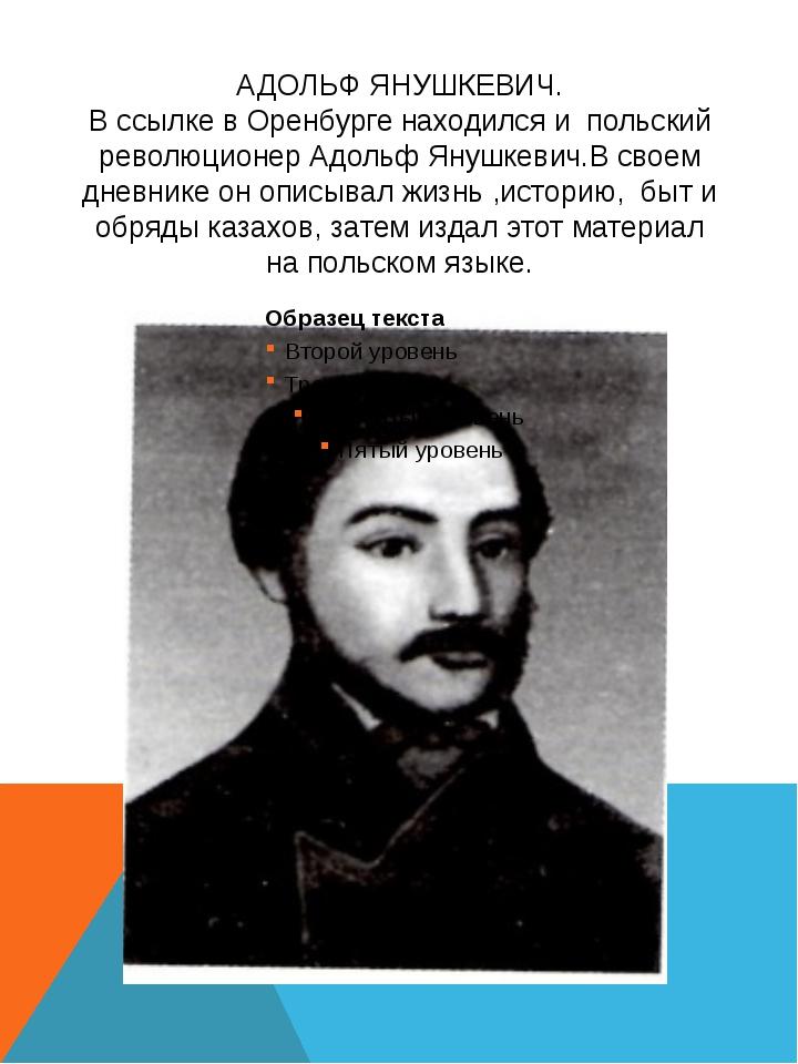 АДОЛЬФ ЯНУШКЕВИЧ. В ссылке в Оренбурге находился и польский революционер Адол...