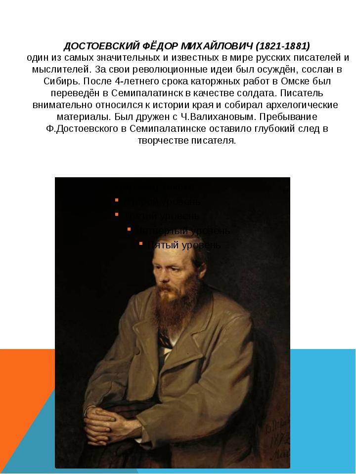 ДОСТОЕВСКИЙ ФЁДОР МИХАЙЛОВИЧ (1821-1881) один из самых значительных и известн...
