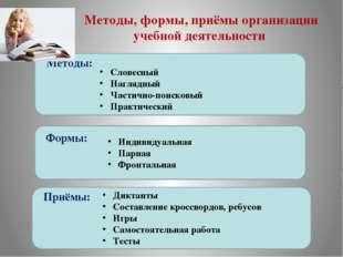 Методы, формы, приёмы организации учебной деятельности Методы: Формы: Приёмы: