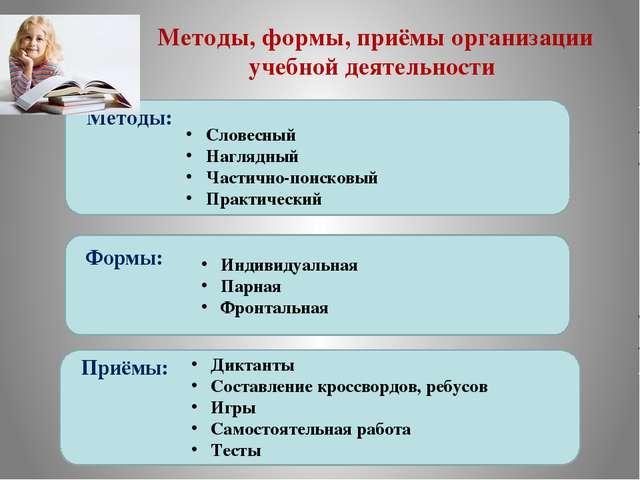 Методы, формы, приёмы организации учебной деятельности Методы: Формы: Приёмы:...