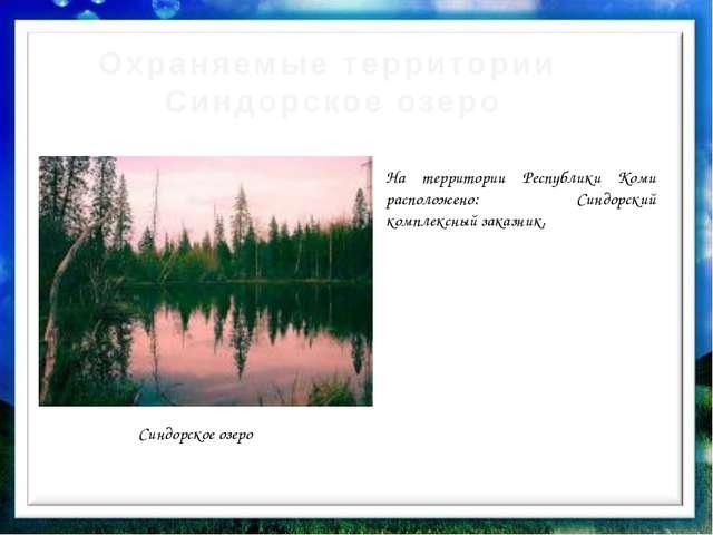 Охраняемые территории Синдорское озеро Синдорское озеро На территории Республ...