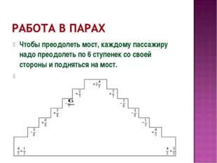 Чтобы преодолеть мост, каждому пассажиру надо преодолеть по 6 ступенек со сво