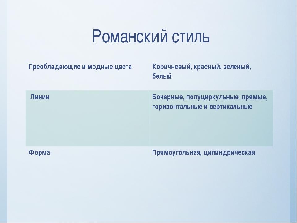 Романский стиль Преобладающие и модные цвета Коричневый, красный, зеленый, бе...