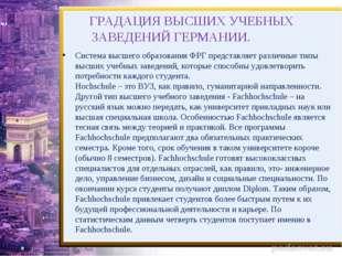 ГРАДАЦИЯ ВЫСШИХ УЧЕБНЫХ ЗАВЕДЕНИЙ ГЕРМАНИИ. Система высшего образования ФРГ