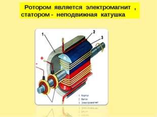 Ротором является электромагнит , статором - неподвижная катушка