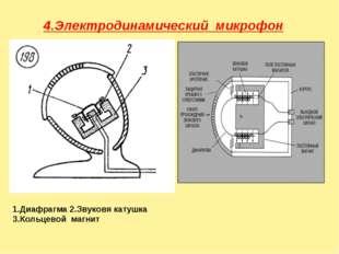 4.Электродинамический микрофон 1.Диафрагма 2.Звуковя катушка 3.Кольцевой маг