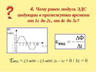 4. Чему равен модуль ЭДС индукции в промежутки времени от 1с до 2с, от 4с до