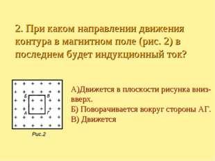 А)Движется в плоскости рисунка вниз- вверх. Б) Поворачивается вокруг стороны