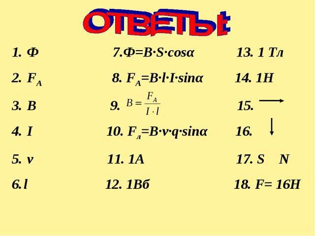 Ф 7.Ф=B∙S∙cosα 13. 1 Тл FA 8. FA=B∙l∙I∙sinα 14. 1Н В 9. 15. I 10. Fл=B∙v∙q∙s...