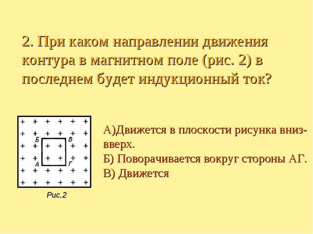 А)Движется в плоскости рисунка вниз- вверх. Б) Поворачивается вокруг стороны...