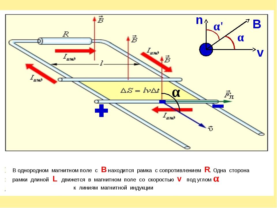 α В однородном магнитном поле c B находится рамка с сопротивлением R. Одна ст...