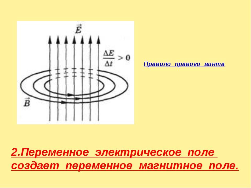 Правило правого винта 2.Переменное электрическое поле создает переменное магн...