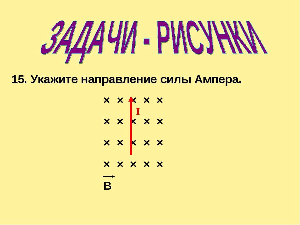 × × × × × × × × × × × × × × × × × × × × B 15. Укажите направление силы Ампера...