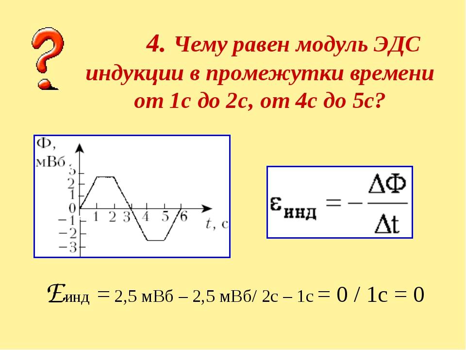4. Чему равен модуль ЭДС индукции в промежутки времени от 1с до 2с, от 4с до...