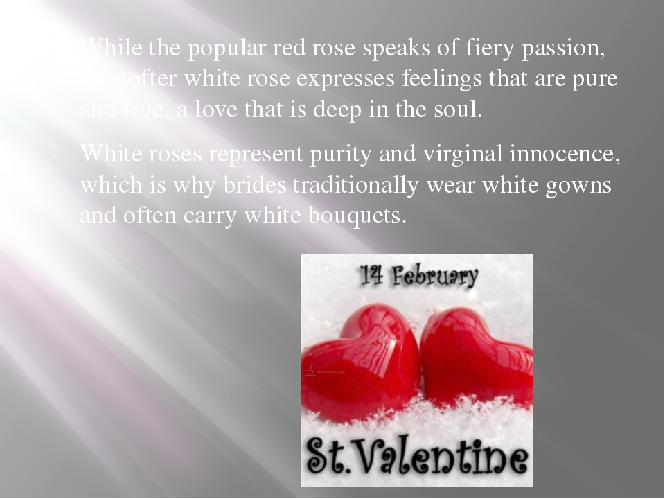 While the popular red rose speaks of fiery passion, the softer white rose ex...