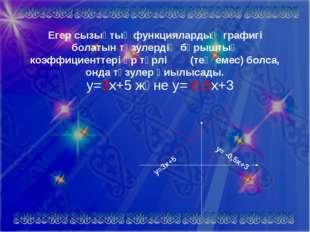Егер сызықтық функциялардың графигі болатын түзулердің бұрыштық коэффициентте