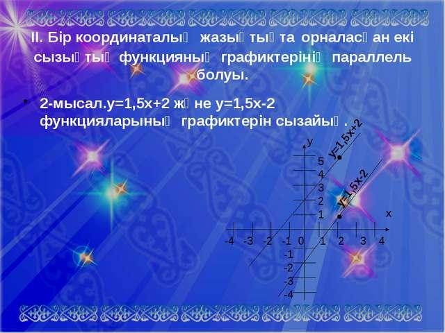 5 4 3 2 1 -4 -3 -2 -1 0 1 2 3 4 -1 -2 -3 -4 ІІ. Бір координаталық жазықтықта...