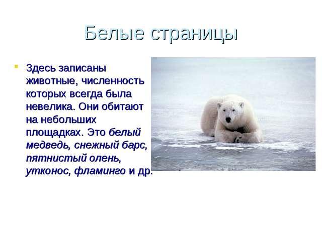 Белые страницы Здесь записаны животные, численность которых всегда была невел...