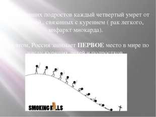 Из закуривших подростов каждый четвертый умрет от заболеваний., связанных с к