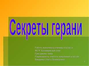 Работу выполнила ученица 4 класса МОУ Казанцевская оош Григорьева Анна Руково