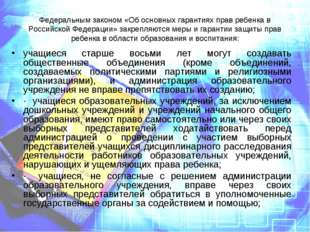 Федеральным законом «Об основных гарантиях прав ребенка в Российской Федераци