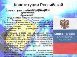 Конституция Российской Федерации Глава 2. Права и свободы человека и граждани