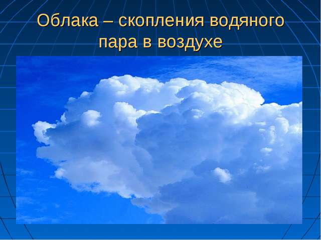 Облака – скопления водяного пара в воздухе