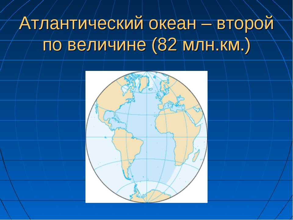 Атлантический океан – второй по величине (82 млн.км.)