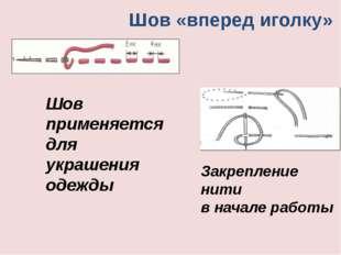 Шов «вперед иголку» Шов применяется для украшения одежды Закрепление нити в н