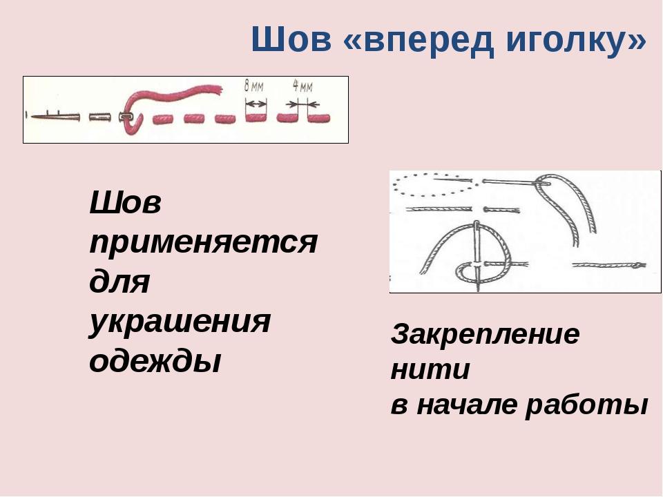 Шов «вперед иголку» Шов применяется для украшения одежды Закрепление нити в н...