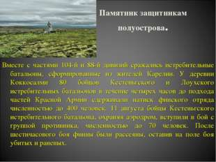 Памятник защитникам полуострова. Вместе с частями 104-й и 88-й дивизий сражал