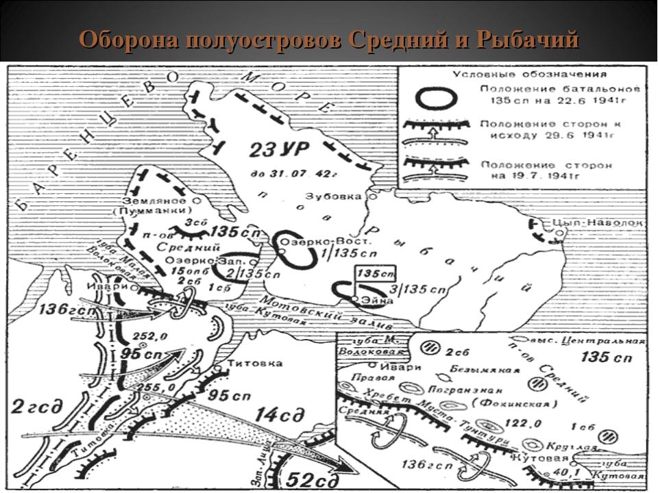 Оборона полуостровов Средний и Рыбачий
