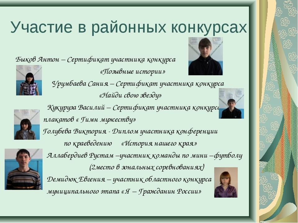 Участие в районных конкурсах Быков Антон – Сертификат участника конкурса «Поз...