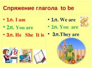 Спряжение глагола to be 1л. I am 2л. You are 3л. He She It is 1л. We are 2л.
