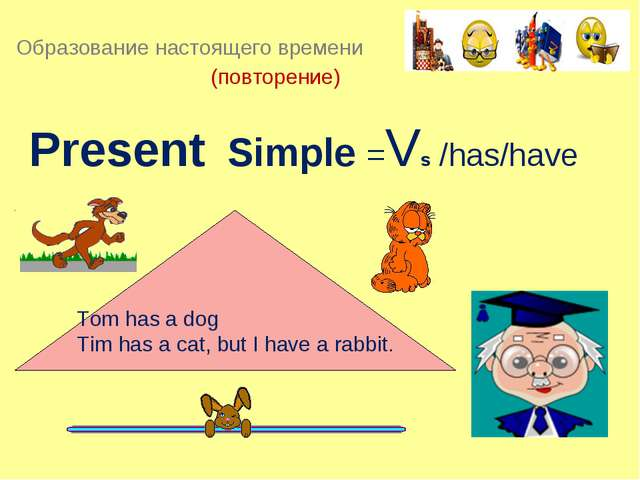 Present Simple =Vs /has/have Тоm has a dog Tim has a cat, but I have a rabbi...