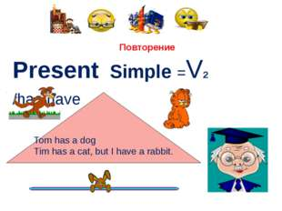 Повторение Present Simple =V2 /has/have Тоm has a dog Tim has a cat, but I h