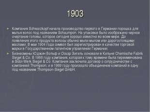 1903 Компания Schwarzkopf начала производство первого в Германии порошка для