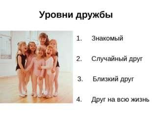 Уровни дружбы 1.Знакомый 2.Случайный друг 3.Близкий друг 4.Друг на всю жи