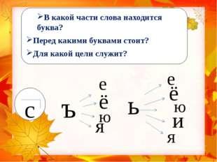 В какой части слова находится буква? Перед какими буквами стоит? Для какой це