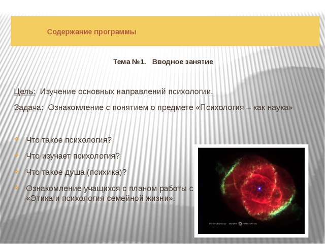 Содержание программы Тема №1. Вводное занятие Цель: Изучение основных направ...