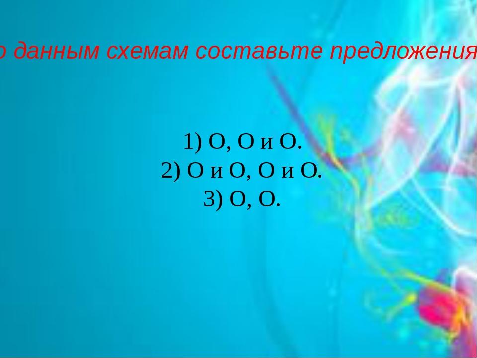 По данным схемам составьте предложения. 1) О, О и О. 2) О и О, О и О. 3) О, О.