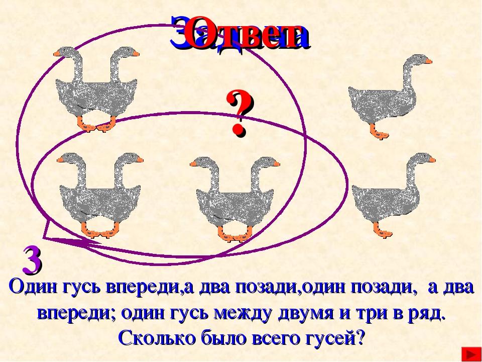 Задача Один гусь впереди,а два позади,один позади, а два впереди; один гусь м...