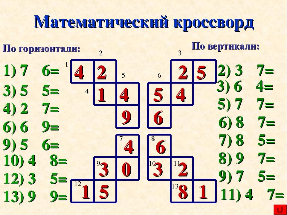 Как сделать кроссворд по математике 6 класс