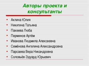 Авторы проекта и консультанты Аклина Юлия Никитина Татьяна Пакеева Люба Перми