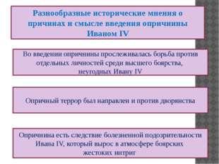 Разнообразные исторические мнения о причинах и смысле введения опричнины Иван