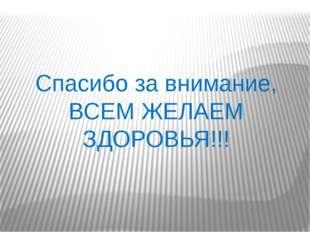 Спасибо за внимание, ВСЕМ ЖЕЛАЕМ ЗДОРОВЬЯ!!!