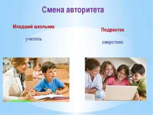 Смена авторитета Младший школьник учитель Подросток сверстник