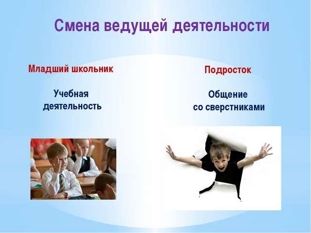 Смена ведущей деятельности Младший школьник Учебная деятельность Подросток Об...