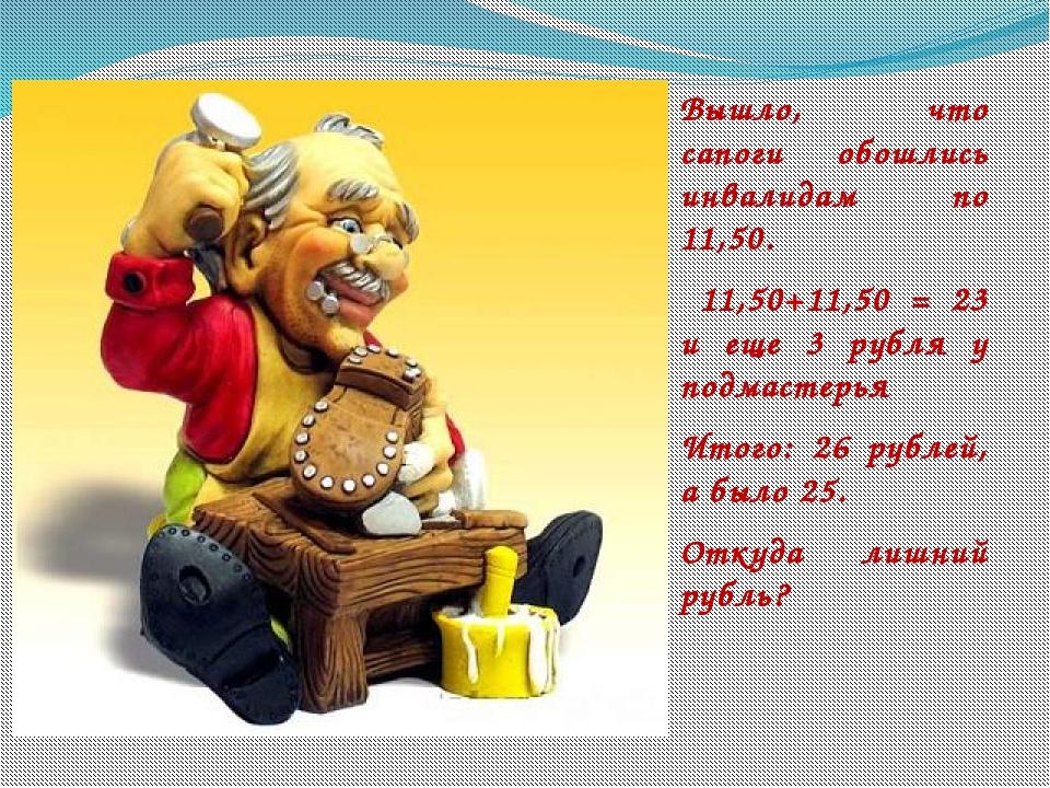 Вышло, что сапоги обошлись инвалидам по 11,50. 11,50+11,50 = 23 и еще 3 рубл...