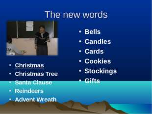 The new words Bells Candles Cards Cookies Stockings Gifts Christmas Christmas